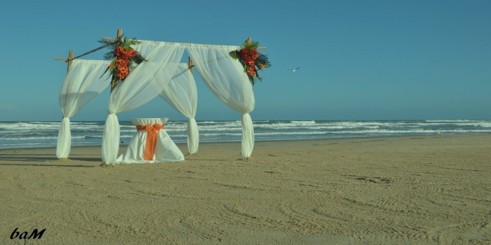 bamboo archway draped with orange corner flowers 2