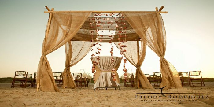 burlap with shell drape